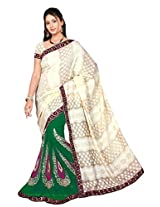 Chinco Embroidered Saree With Blouse Piece (510-B_Dark Green & Beige)