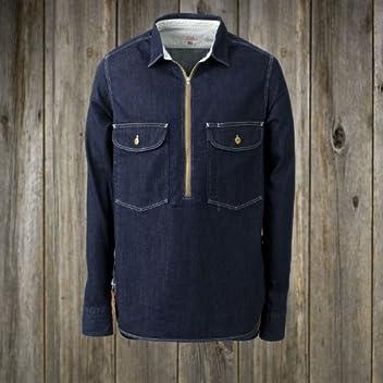 Zip-Up Work Shirt: Rinsed Denim