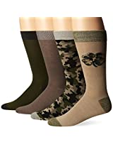 Lucky Men's 4 Pair Pack Camo Crew Socks, Khaki, 10-13/Shoe Size 6-12