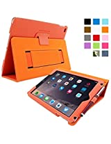 Snugg iPad Air 2 Case  Smart Cover with Kick Stand & Lifetime Guarantee (Orange Leather) for Apple iPad Air 2 (2014)