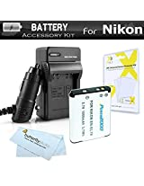Battery And Charger Kit For Nikon Coolpix S3500 S6400 S3100 S4100 S100 S4300 S3300 S5200 S6500 S3200 S4200 Digital Camera Includes Replacement Extended (1000Mah) EN-EL19 Battery + 110/220 AC/DC Charger + Screen Protectors + MicroFiber Cleaning Cloth