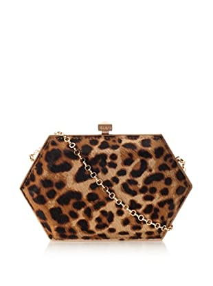 Be&D Women's Kumamoto Imaginative Hexagon Clutch with Crossbody (Long Leopard)