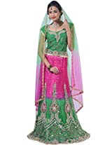 Jungle Green and Deep Pink Net Embroidered Wedding Lehenga Choliin Large Size