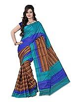 Parichay Women's Bhagalpuri Silk Saree(Sea Green, Blue)