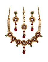 Antique Pearl Ruby Green Enamel Necklace and Dangling Floral Earrings