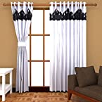 Angiela Home Fab Plain Polyester 2 Piece Door Curtains-7Feetx4Feet, White