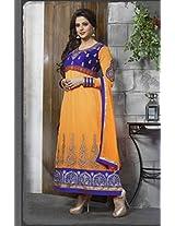 Kashish Orange Semi Stiched Designer Anarkali Suit