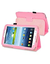 eForCity Leather folio case with Stand Compatible with Samsung Galaxy Tab 3 7.0 Kids / Galaxy Tab 3 7.0 P3200, Pink(PSAM3200LC04)