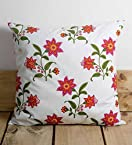 Ocean Collection Pink Flower Cotton Cushion Cover
