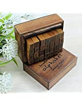 28 Pieces Wooden Antique Handwriting Alphabet Stamp Set - Wood Handles with Rubber Stamps - Lower Case (Small Letters)