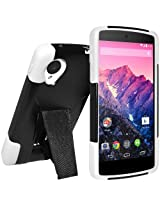 Amzer Double Layer Hybrid Case Cover with Kickstand for LG Nexus 5 D820, Google Nexus 5 D820 (Fit All Carriers) - Retail Packaging - Black/ White
