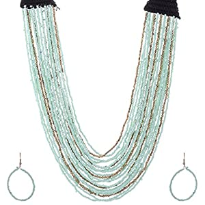 The Crazy Neck Multi-Layered Neck Piece With Green And Golden Beads jewellery Set