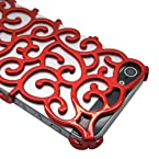 Gearonic AV-5147RPUIB Luxury Chrome Electroplating Hollow Pattern PC Hard Back Case Cover for Apple iPhone 5 - Non-Retail Packaging - Red