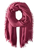 La Fiorentina Women's Multi-Knit Scarf with Fringe, Fuchsia, One Size