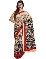 Parchayee Women's Synthetic Saree (94156A, Beige, Free Size)