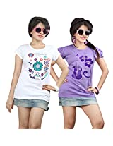 VIOTY MULTI COTTON PRINTED TEE PACK OF 2