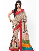 Beige Printed Saree