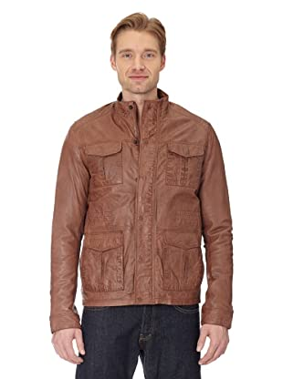 Maze Long Biker jacket With Hidden Zip Facing Hombre (Cognac)