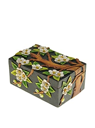 The Niger Bend Rectangular Soapstone Box with Flowering Tree Design