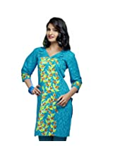 Karishma Suit - FREE Maybelline Colossal Kajal MRP 199 - s Blue-Green Printed Pure Cotton jacquard ï¿1/2 Unstitched Kurti Fabric For Women | KLVPG26