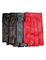 Warmen Women's Nappa Leather Half Finger Fingerless Motorcycle Cycling Hunting Driving Lined Gloves (L, red)