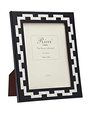 Ricci Katherine Handcrafted Mother of Pearl Photo Frame, Black/Ivory, 8