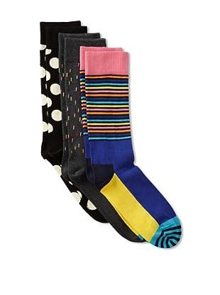 Happy Socks Men's Multi Socks (3 Pairs) (Black/Grey/Pink)