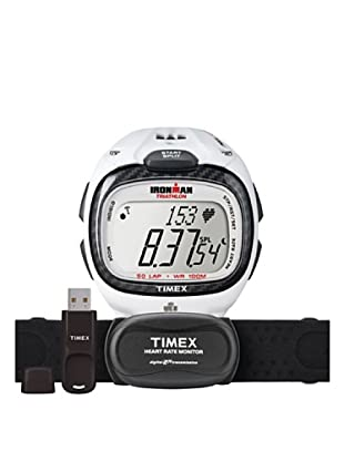 TIMEX Reloj de cuarzo Man Ironman Race Trainer Pro Kit w/ USB Blanco 46 mm
