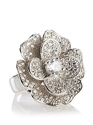 CZ by Kenneth Jay Lane Floral Pave Ring, Size 6