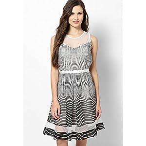 Lara Karen Skater Dress - Black & white