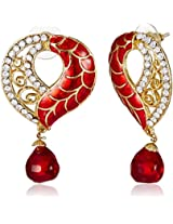 Ava Traditional Drop Earrings for Women (Red) (E-SD-Q208)