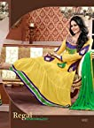 Rukulpreet Singh Faux Georgette Yellow Anarkali Suit