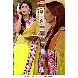 Bollywood Replica Hina Khan Georgette Saree SR0300044 Yellow and Pink