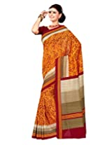 Sangam Saree Womens Masterd Yellow Cottan Silk Print Saree