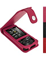 iGadgitz Pink Leather Case for Sony Walkman NWZ-E585 with Detachable Carabiner + Screen Protector