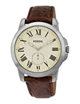 Fossil End-of-Season Grant Analog Beige Dial Men's Watch - FS4963