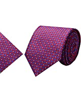 Navaksha Red Micro Fiber Tie with Pocket Square