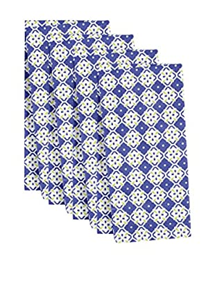KAF Home Set of 4 Botanical Geo Napkins, Periwinkle