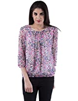 AARR Blue Floral Printed 3/4 Sleevess Round Neck Polycotton Top