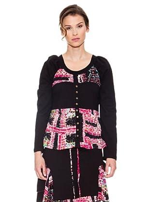Mahal Camiseta con Botones (Negro / Rosa)