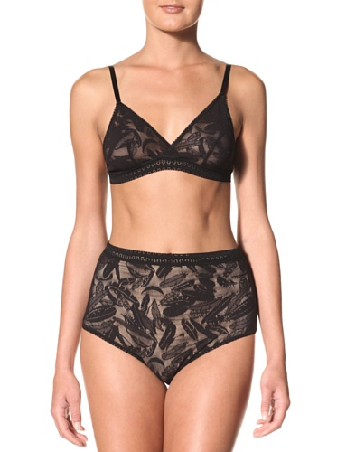 Between The Sheets Women's Birds of Play Hi-Waist Knicker (Black)