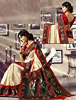 Off White and Red Colour Mysore Silk Sarees : Crown Collection - YF-14423