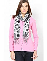 Cotton Blend Grey Printed Stole