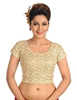 Salwar Studio Women's Light Gold Cotton Lycra Readymade Free Size Saree Blouse SSB1154-LIGO-FS
