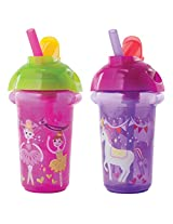 Munchkin Click Lock Flip Straw Cup, 9 Ounce, 2 Count (Pink/Purple)