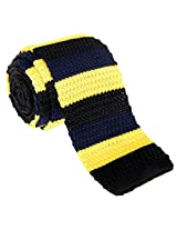 "Retreez Casual Three Colors Stripes Men's 2.4"" Skinny Knit Tie - Black and Navy Blue and Yellow"