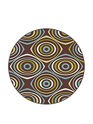 Universal Rugs Garden City Indoor/Outdoor Transitional Rug, Brown, 8' Round