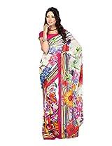 Fabdeal White Faux Georgette Printed Saree Sari Sarees-RILSR9167ANH