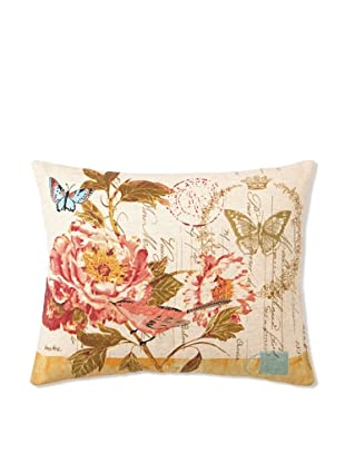 """Kathryn White Floral with Birds on Citron Pillow, 14"""" x 18"""""""