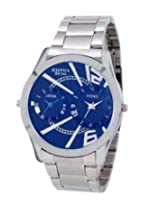 Exotica Blue Dial Analogue Watch for Men (EX-90-Dual-CB)
